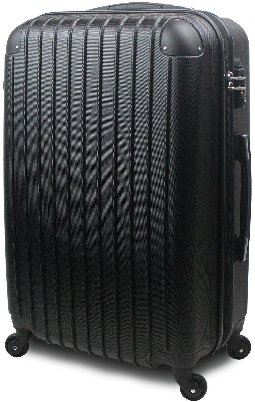 スーツケース キャリーバッグ 超軽量 大型 Lサイズ TSA搭載 FS2000 ダブルファスナー B071HV5B1V 大型 Lサイズ 7~14泊用|ブラック ブラック 大型 Lサイズ 7~14泊用