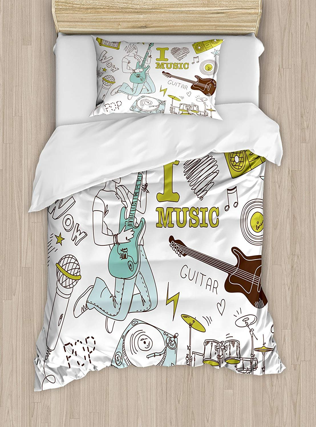 Twin XL Extra Long Bedding Set,Popstar Party Duvet Cover Set,I Love Music Themed Sketch Composition Instruments Musician Girl,Cosy House Collection 4 Piece Bedding Setss