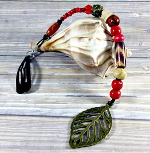 Deluxe Adult Costumes - Men's beautiful handmade beach pirate hair beads with leaf pendant - Pirate decorative hair accessories