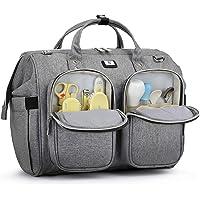Pomelo Best Wickelväska med vattentätt skötunderlägg och 2 barnvagnar krokar justerbar axelrem multifunktionell…
