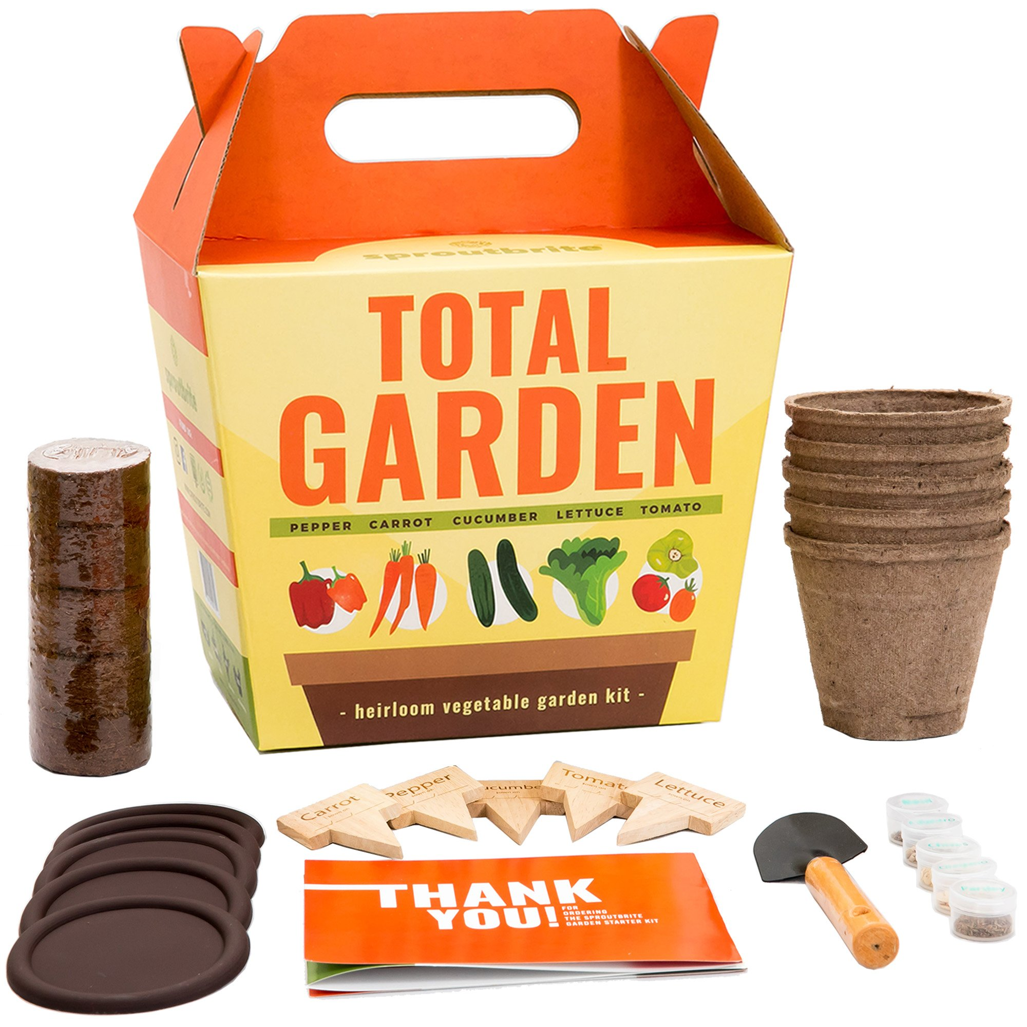 Sproutbrite Vegetable Garden Starter Kit - Grow 5 Heirloom Veggies from Organic Non GMO Seed - A Complete Gardening Gift kit for Growing Indoors or Outdoors