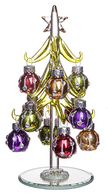 Green Christmas Tree With Multi Colored Removable Sphere Ornaments Small Glass Decoration Holiday