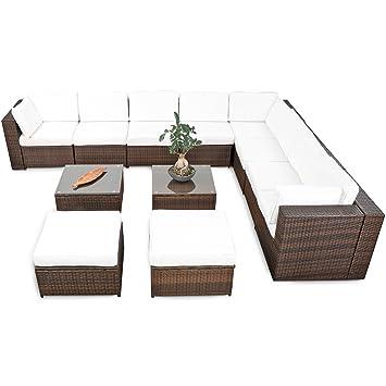 Amazon.de: XINRO® erweiterbares 35tlg. XXXL Eck Lounge Polyrattan ...