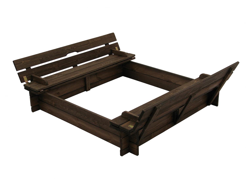 schöner Sandkasten aus Holz mit Deckel und Bänken B118 x T118 x H120 cm