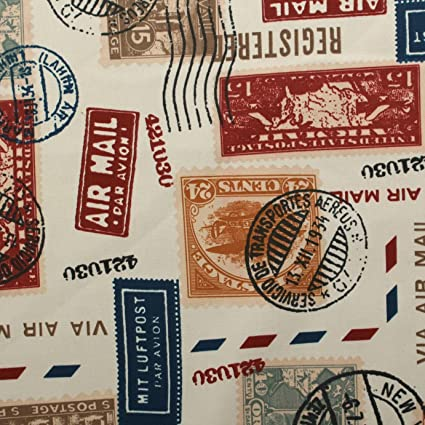Air Mail Postage Stamp 100 Heavy Cotton Panama Printed Childrens Curtain Cushion Upholstery Fabric