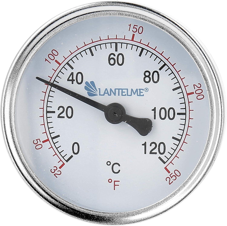 Lantelme Termómetro de calefacción 120 °C manga de inmersión termómetro de esfera de agua fría negro Termómetro de calefacción analógico bimetálico 4672