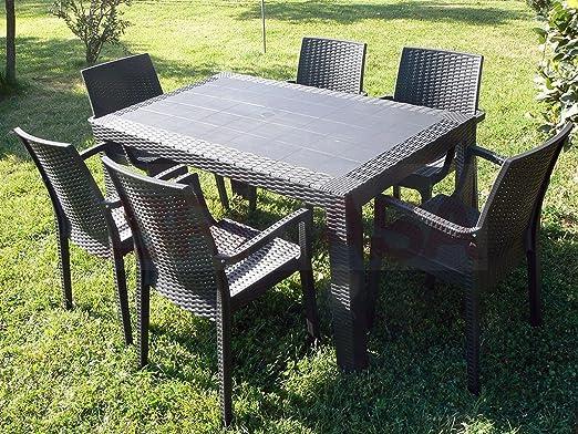 Set Da Giardino In Resina.Dimaplast Set Garden Top Marrone Tavolo E 4 Poltrone In Resina