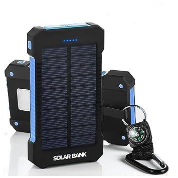 Cargador de batería portátil con paneles solares para copia de seguridad con cargador solar: Amazon.es: Electrónica