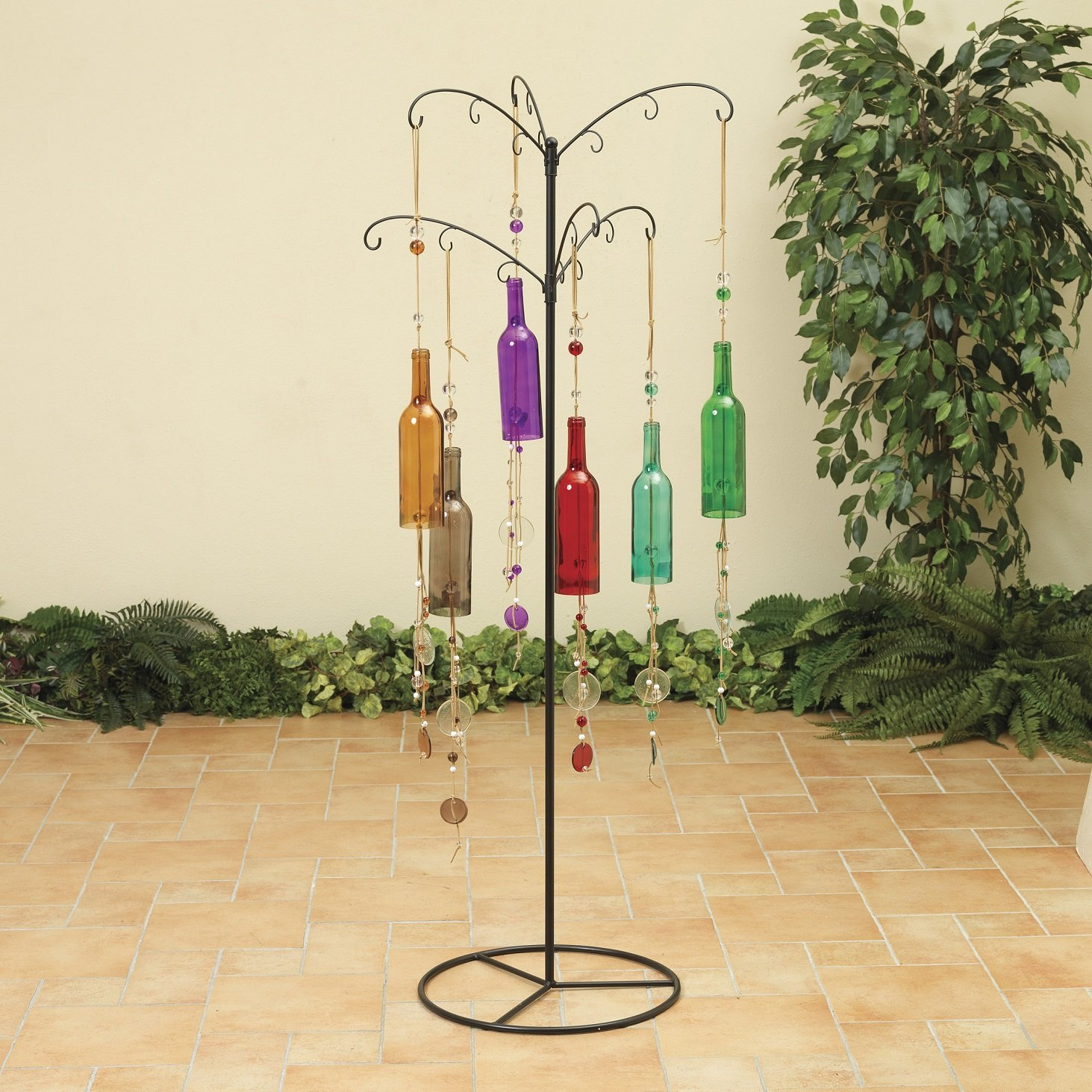 59in Garden Standing Metal Display Tree 18 Glass Bottle Wind Chimes Decoration