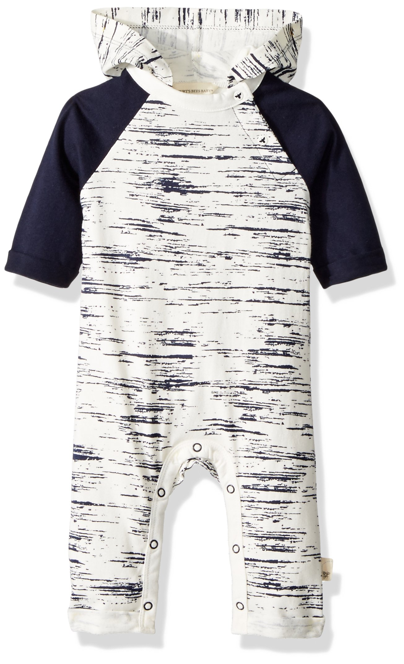 Burt's Bees Baby Boys' Romper Jumpsuit, 100% Organic Cotton One-Piece Coverall, Midnight Peering Light Hooded, 18 Months
