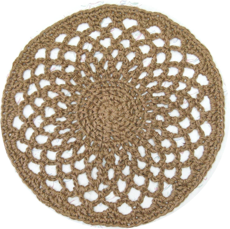 Round Jute Doily Rug - Handmade Openwork Crochet - 26