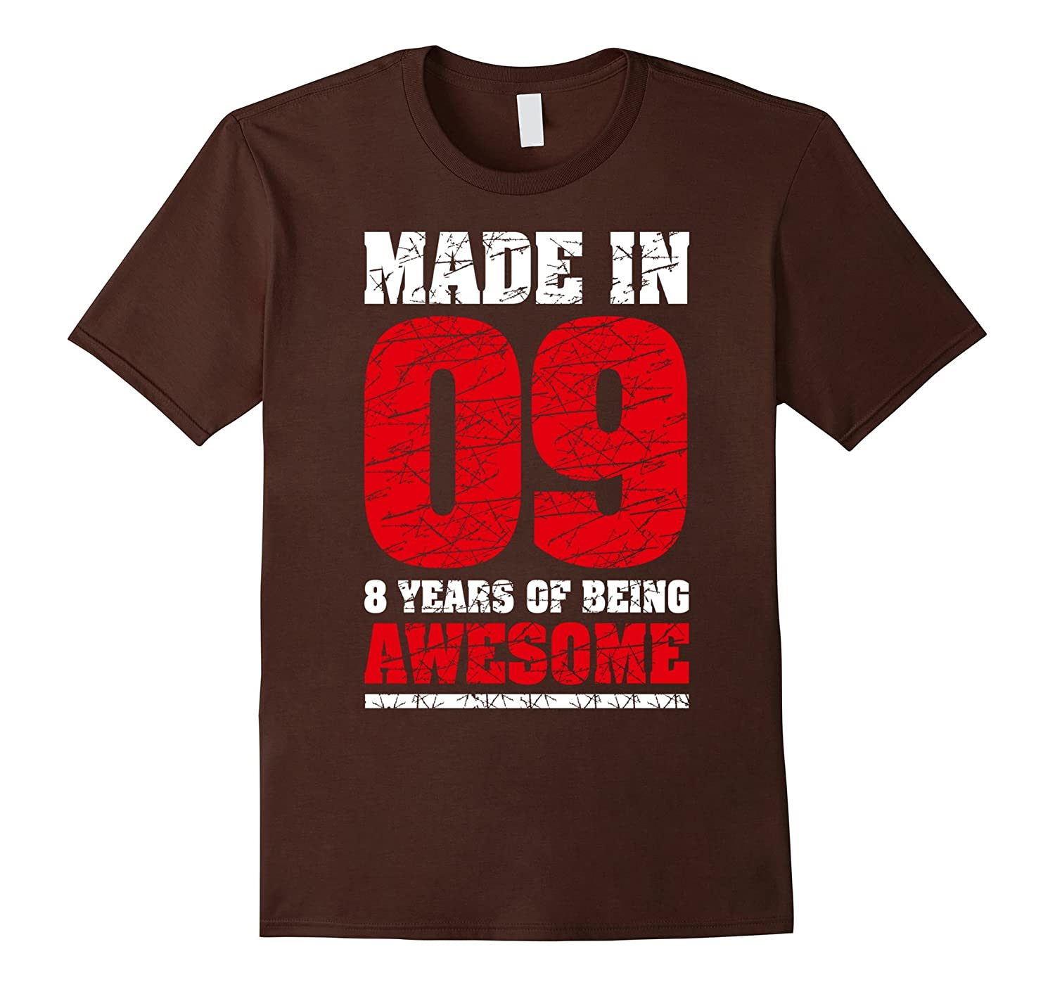 8th Birthday Gift T Shirt Made In 2009 Awesome 8 years old-TH
