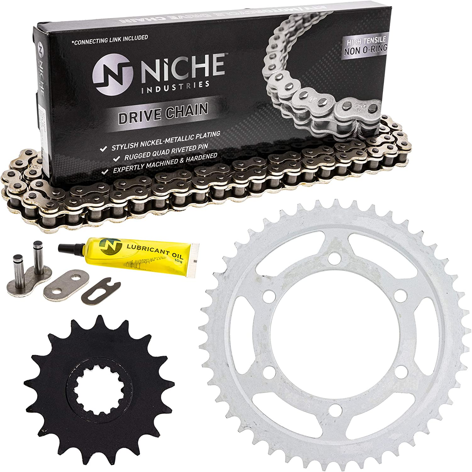 NICHE Drive Sprocket Chain Combo for Yamaha YZF R1 Front 17 Rear 45 Tooth 530V O-Ring 118 Links