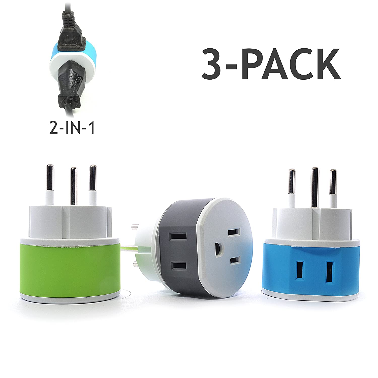 Israel, Palestine Power Plug Adapter by OREI with 2 USA Inputs - Travel 3 Pack - Type H (US-14) Safe Grounded Use with Cell Phones, Laptop, Camera Chargers, CPAP, and More