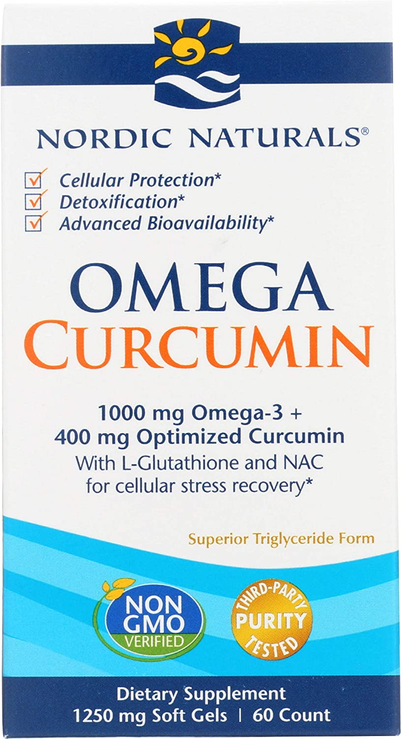 Nordic Naturals Omega Curcumin, Lemon - 60 Soft Gels - 1000 mg Omega-3 + 400 mg Optimized Curcumin - Combats Cellular Stress - Contains L-Glutathione & NAC - Non-GMO - 30 Servings