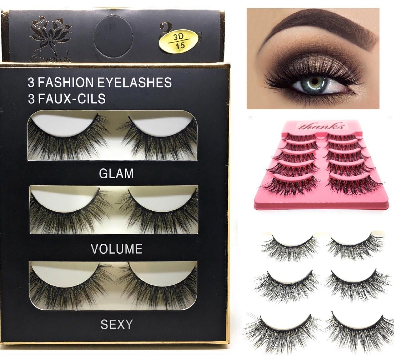 4038e71a7e5 Amazon.com : False Eyelashes Faux Mink Cruelty Free Fashion handmade  synthetic eyelash multipack eyelash extension : Beauty