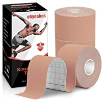 Kinesiology Tape(3 Rolls pack), Elastic Therapeutic Sports Tape Pro for Shoulder Knee Elbow Ankle, Waterproof…