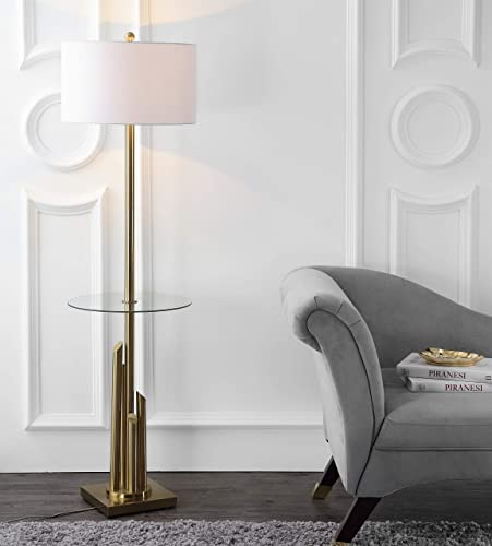 Safavieh FLL4009A Lighting Collection Ambrosio 61″ Brass and Gold Side Table Floor Lamp