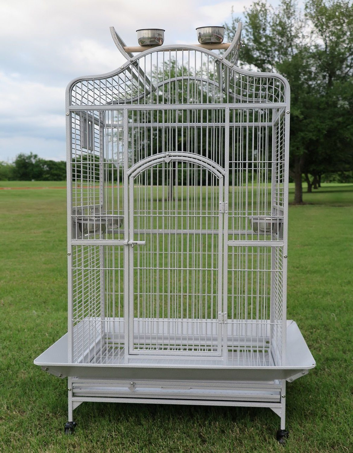 New Large Wrought Iron Open/Close Play Top Bird Parrot Cage, Include Metal Seed Guard Solid Metal Feeder Nest Doors Overall Dimensions: 35.25'' Wx29.5''x62''H(with Seed Skirt) (28Wx22Lx59H, White Vein)