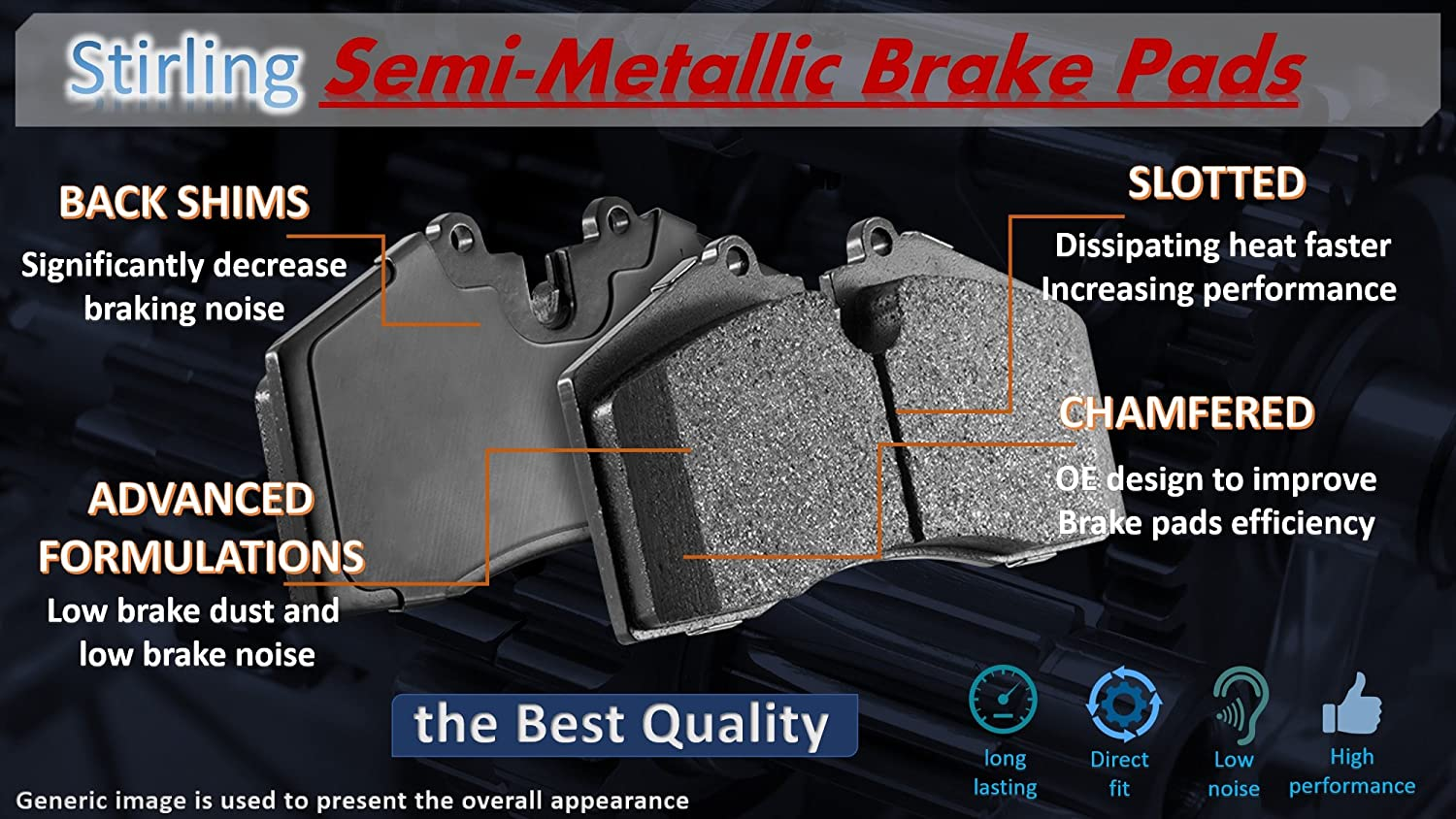 Stirling Both Left and Right with 2 Years Manufacturer Warranty Semi Metallic Brake Pads 2013 For Hyundai Veloster Front Set Note: Natural