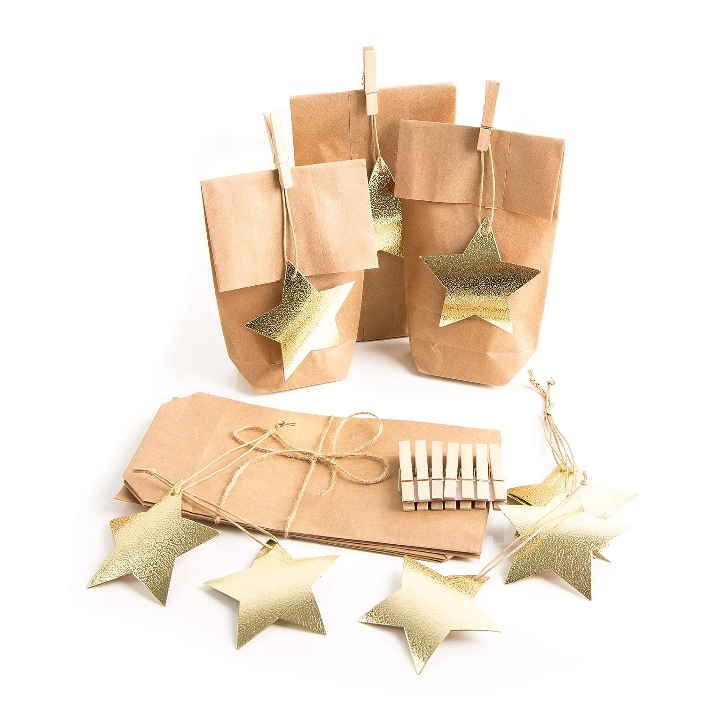 10 pieza pequeña bolsas de Navidad marrón papel kraft 10,7 x ...