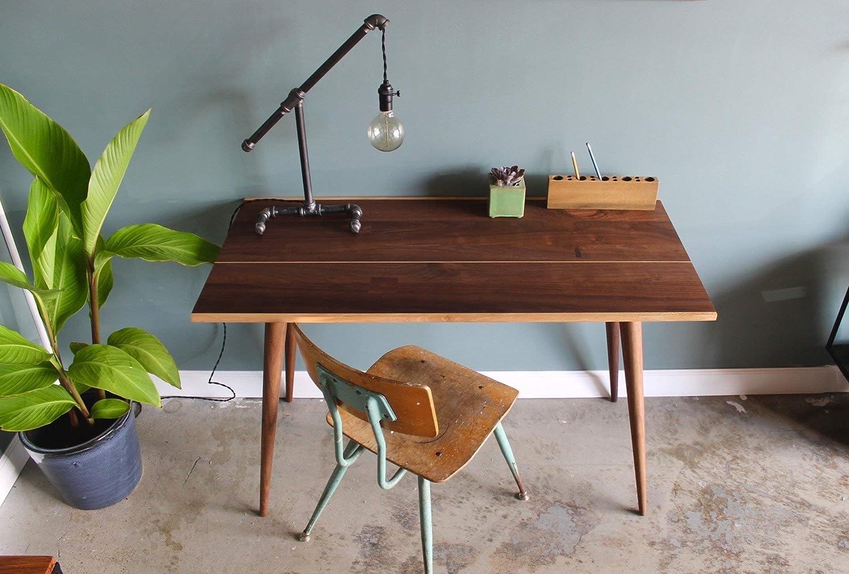 Amazon com home office desk modern desk walnut office desk writing desk mid century table desk for home office handmade
