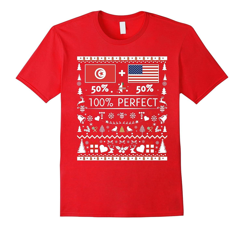 50% Tunisia 50% USA Flags Christmas T Shirt for Tunisians-ANZ