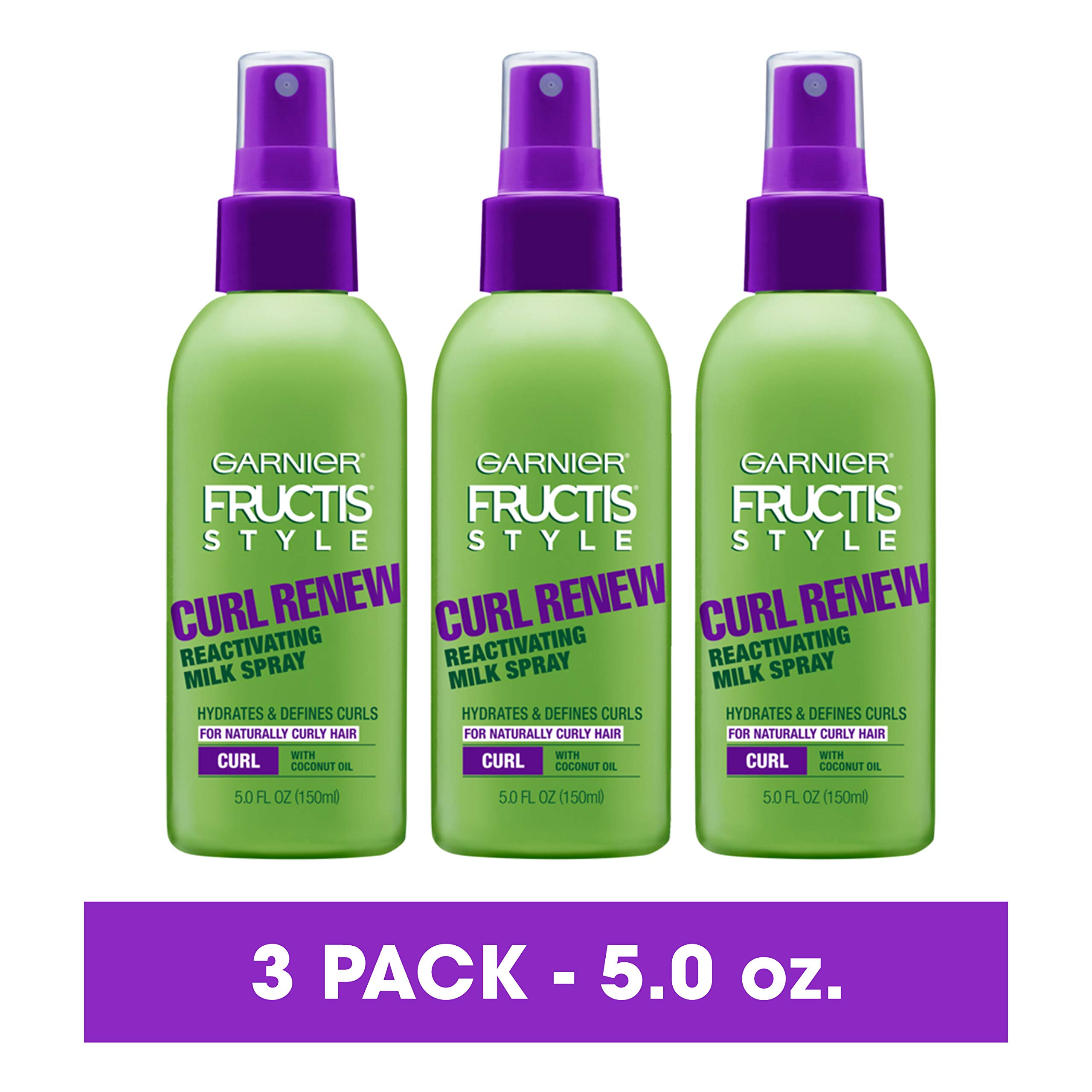 Garnier Fructis Style Curl Renew Reactivating Milk Spray For Curly Hair, 5 Ounce (Pack of 3) (Packaging May Vary) by Garnier