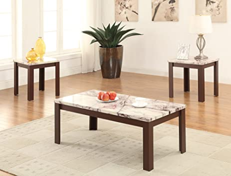 acme furniture 3 piece carly coffeeend table set faux marble u0026 cherry