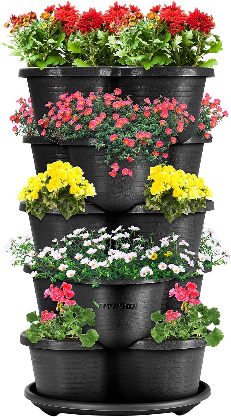 VIVOSUN 5 Tier Vertical Gardening Stackable Planter for Strawberries, Flowers, Herbs, Vegetables, Black