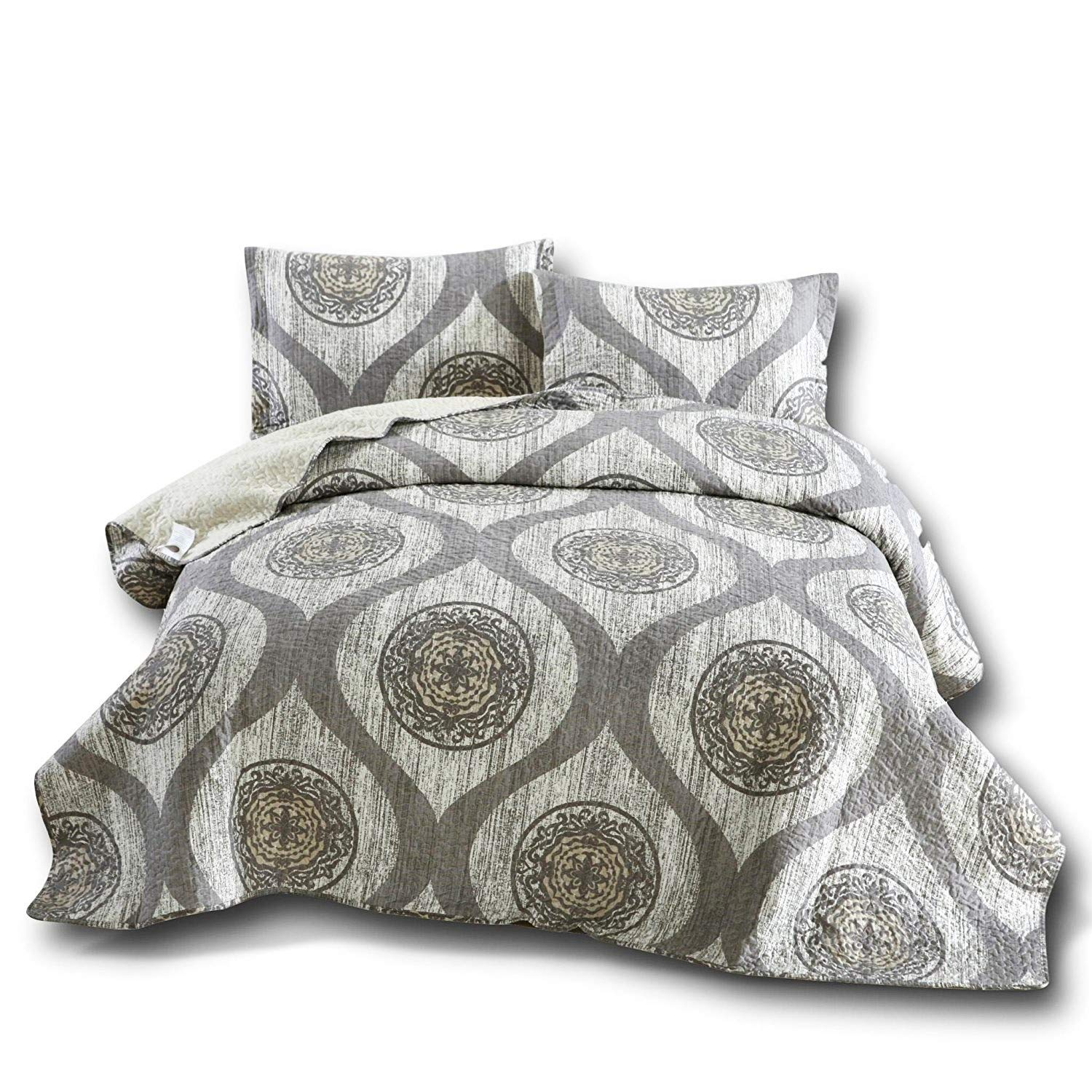 DaDa Bedding Rustic Medallion Bedspread - Distressed Mosaic Classical Reversible Quilted Coverlet - Cool Toned Multi Charcoal Grey - Cal King - 3-Pieces
