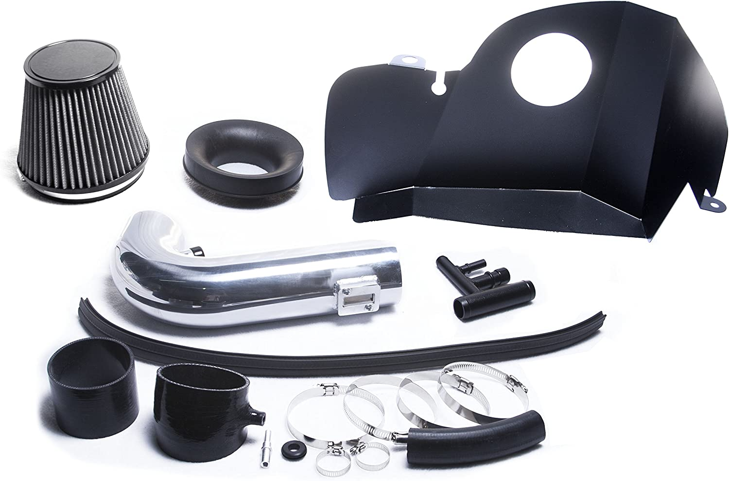 SILVER HEAT SHIELD COLD AIR INTAKE KIT SYSTEM FIT 2015 2016 2017 FORD MUSTANG//MUSTANG GT 5.0L V8 ENGINE