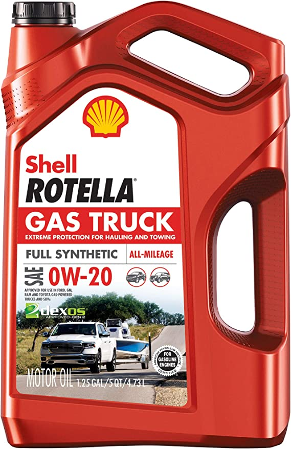 Shell Rotella Gas Truck Full Synthetic 0W-20 Motor Oil for Pickups and SUVs (5-Quart