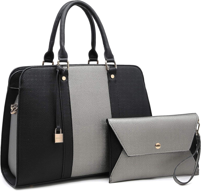 Two Tone Handbag for Women Vegan Leather Purse Stylish Satchel Shoulder Bag with Wristlet