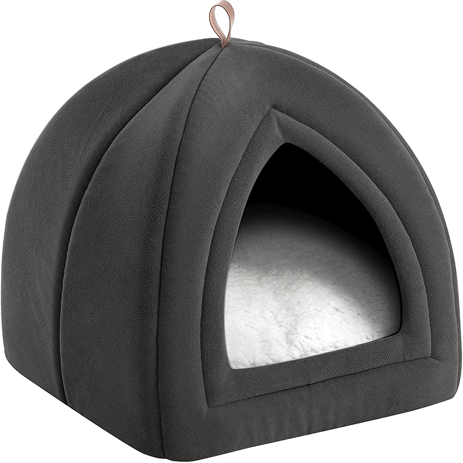 Bedsure Cat Bed Pet Tent Cave For Cats Small Dogs 15x15x15 Inches 2 In 2 Cat Tent Cat Bed With Removable Washable Cushioned Pillow Microfiber Indoor Outdoor Pet Beds Dark Grey Amazon Ca Home