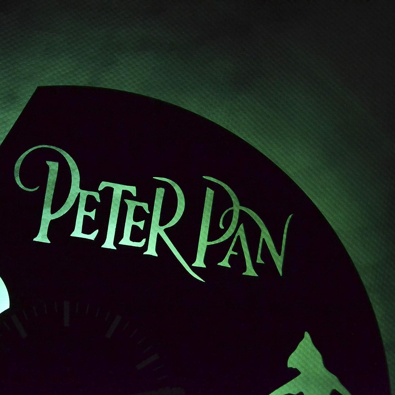 Perfect Gift for Men and Women Peter Pan Neverland Led Light Vinyl Clock Wall Clock Original Home Wall Decor