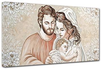 Quadro Sacra Famiglia Moderno.Punto Digital Quadro Capezzale Sacra Famiglia Home Cm 120x60 Moderno Intelaiato Stampa Su Tela Cotone Telaio In Legno Spessore Cm 2