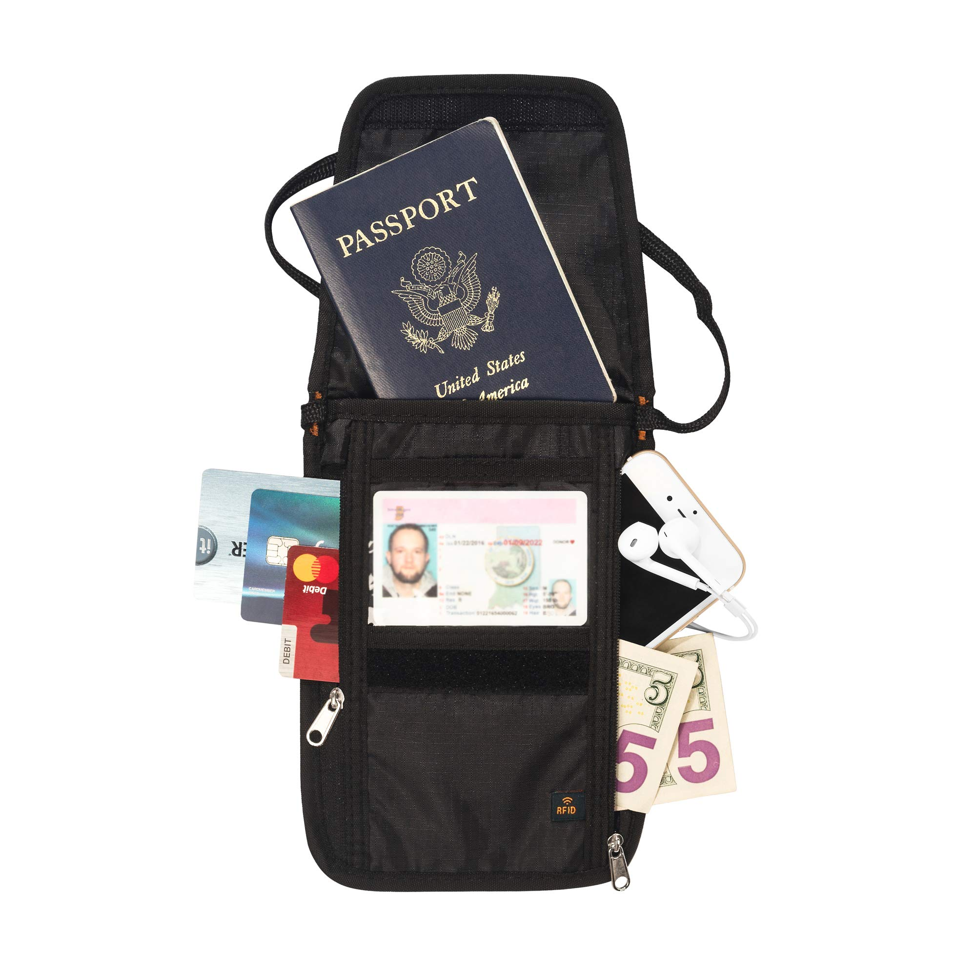 RFID Passport Holder & Neck Wallet/Neck Stash (Midnight Black)