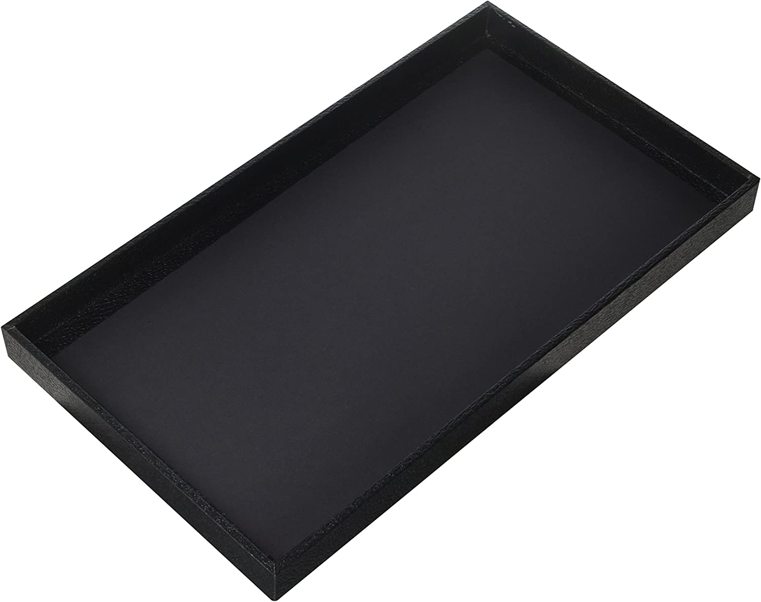 """Regal Pak 3-Piece 1 -Inch Deep Black Full Size Plastic Stackable Jewelry Tray 14 3/4"""" X 8 1/4"""" X 1""""H"""