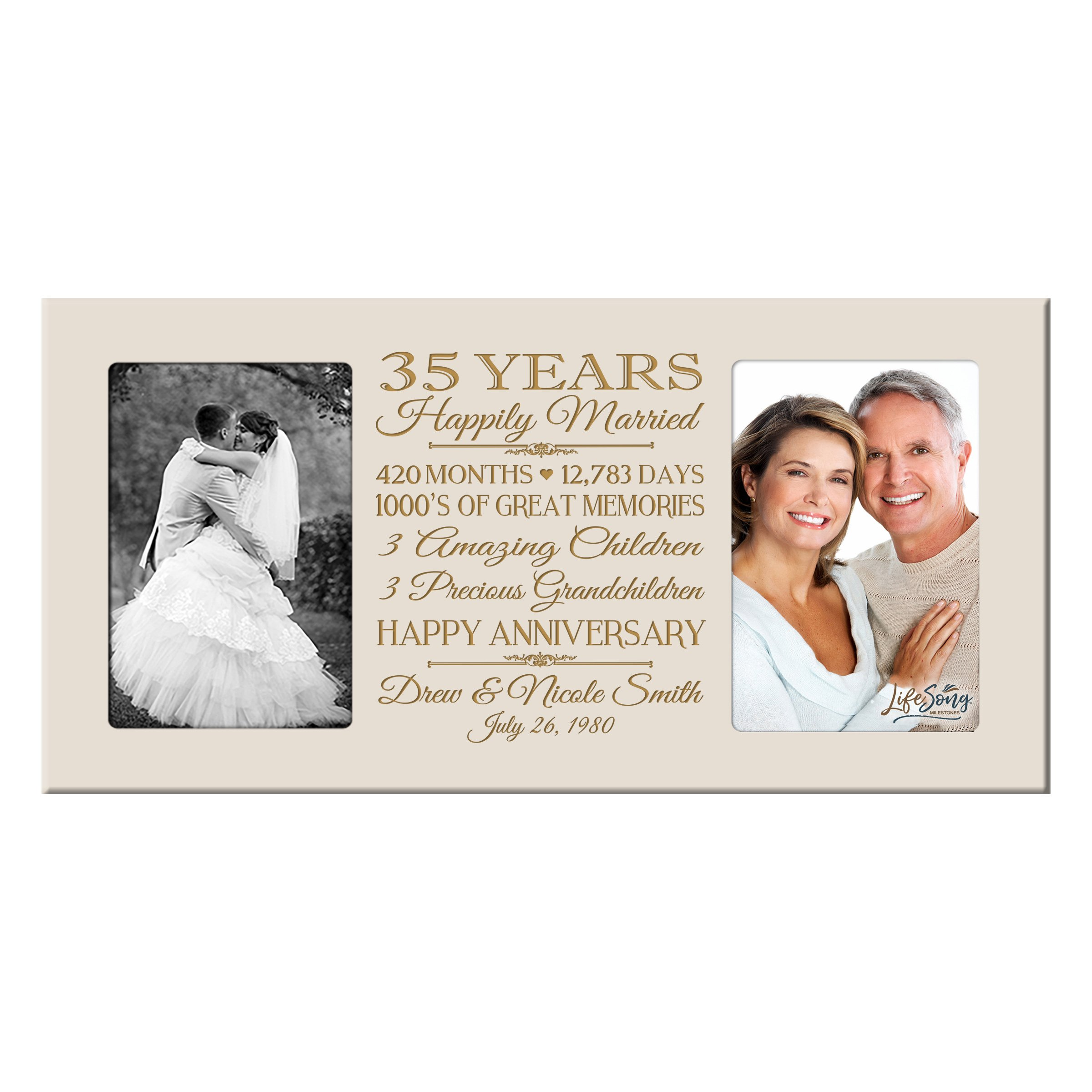 LifeSong Milestones Personalized 35 Year her him Couple Custom Engraved Wedding Celebration for Husband Wife Girlfriend Boyfriend Photo Frame Holds Two 4x6 Photos (Ivory)