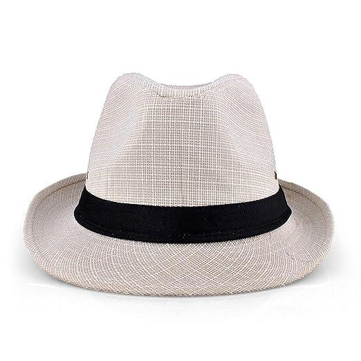 f68f51ea3d6 EINSKEY Mens Panama Hat Unisex Summer Striped Cotton Federa Trilby Sun Hat   Amazon.co.uk  Clothing