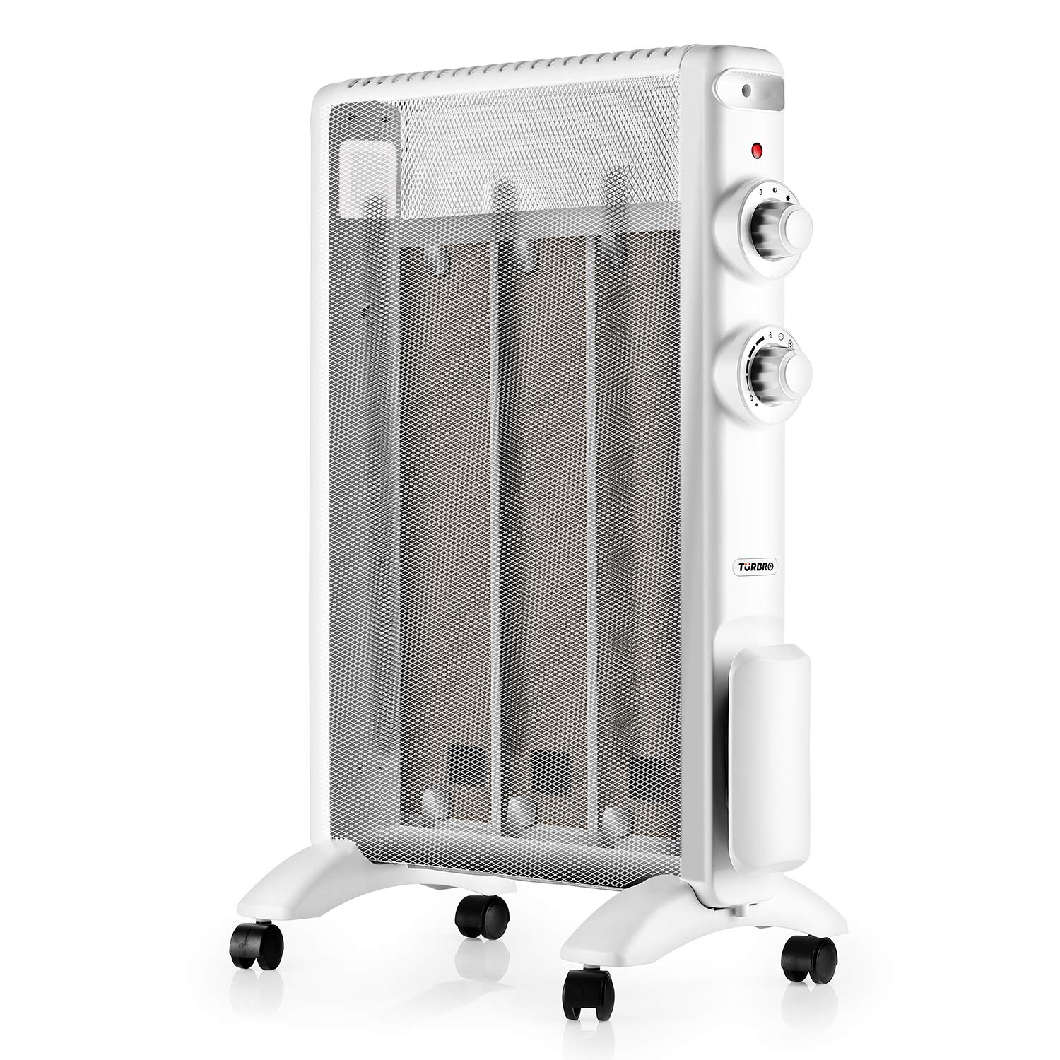TURBRO Arcade HR1015 Electric Mica 1500W, ETL & CA Prop 65 Certified Micathermic Flat-Panel Heater with Adjustable Thermostat, Quiet for Home and Office 120V (White)