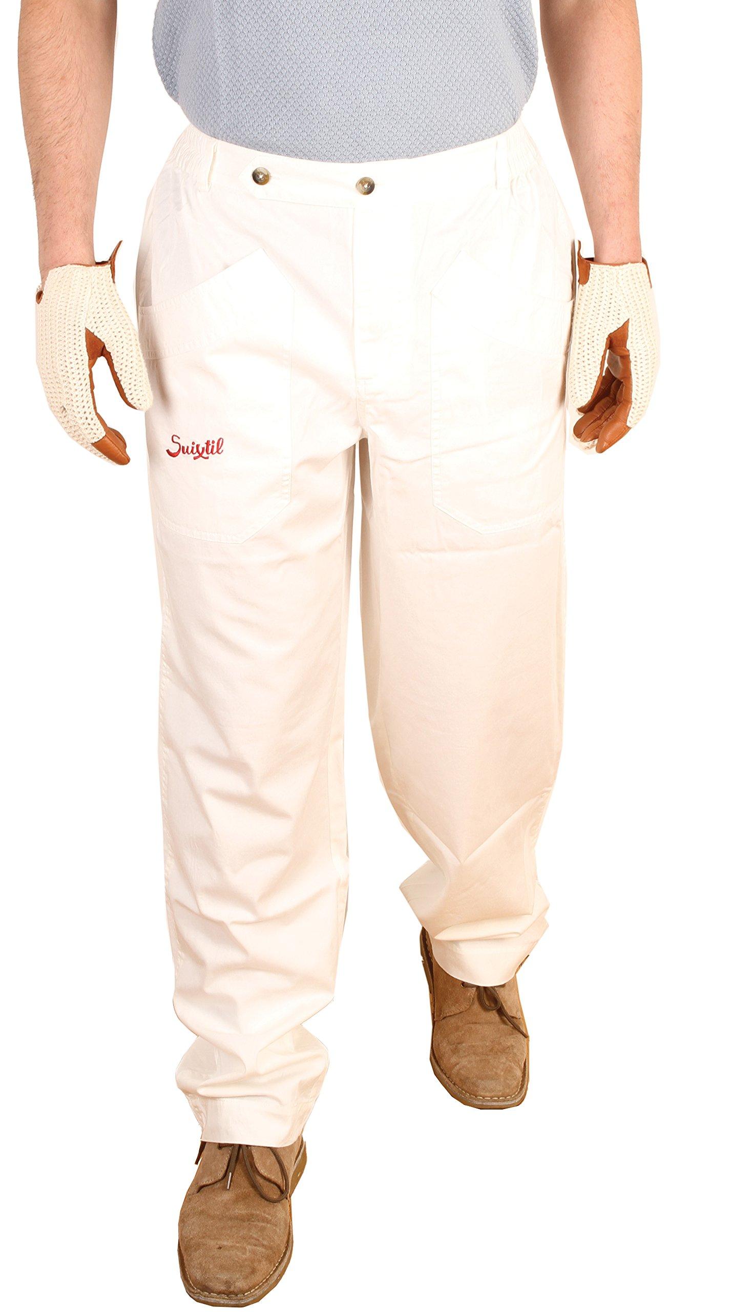 Suixtil Men's 100% Fine Cotton Twill Modena Race Pant, White, 34/34