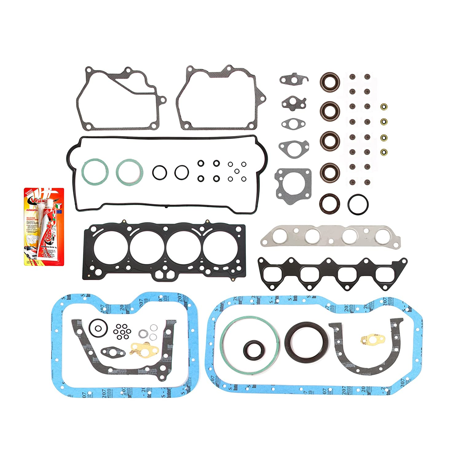 Domestic Gaskets Engine Rering Kit FSBRR2015EVE\2\0\0 Fits 93-97 Toyota Celica Corolla Geo 1.8 DOHC 7AFE Full Gasket Set 0.50mm 0.020 Oversize Piston Rings Standard Size Main Rod Bearings