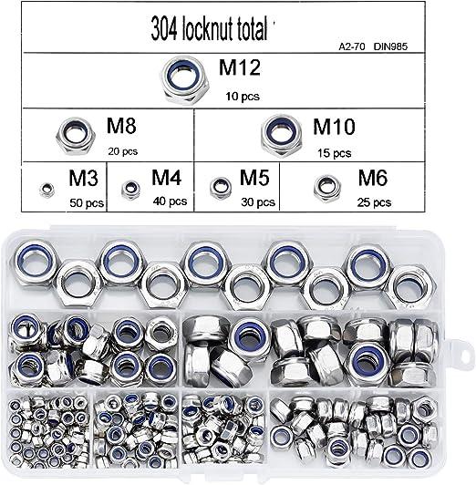 190 pcs Contratuercas de Cabeza Hexagonal M3 M4 M5 M6 M8 M10 M12 DESON Tuercas Autoblocantes Tuercas Autoblocantesde 304 Acero Inoxidable y Nyl/ón