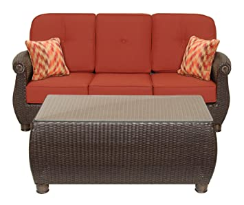 lazboy outdoor resin wicker patio furniture sofa with pillows and coffee