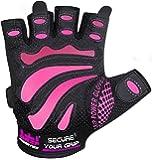 Gants de Musculation pour Femme de Grip Power Pads MIMI - Protègent vos mains et améliorent vos prises - Gants de Musculation Rose et Noir - Facile à Mettre et à Enlever