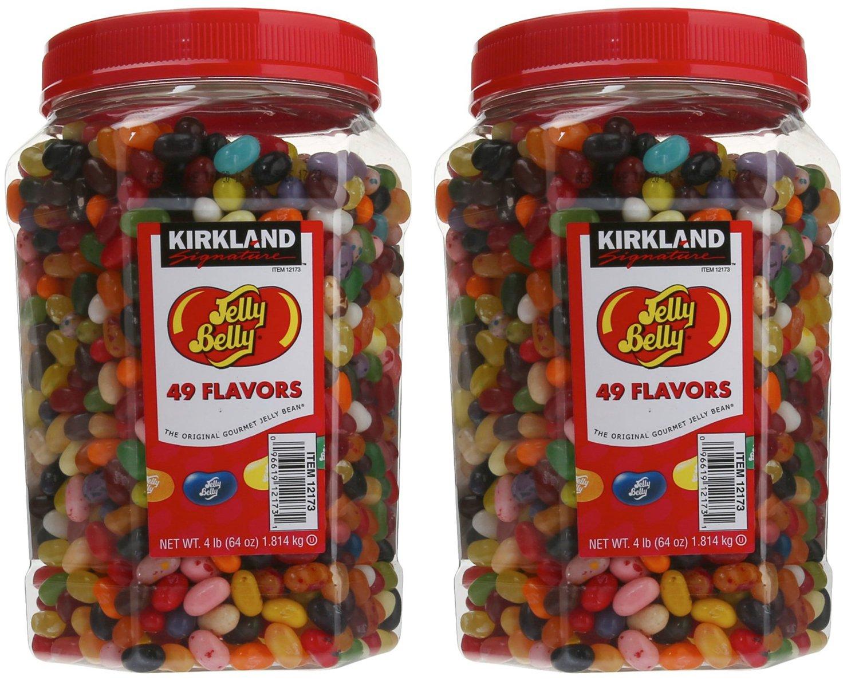 Kirkland Signature Jelly Belly Gourmet Beans, 49 Flavors - 4 lb jar (2 Jars)