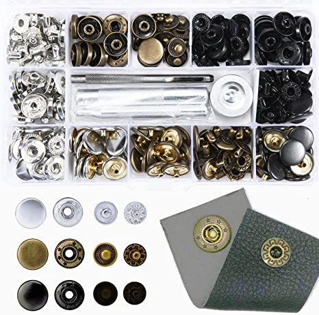 15 Sets Snap Buttons with Basic Tools for Jeans Jacket Leather Crafts Silver