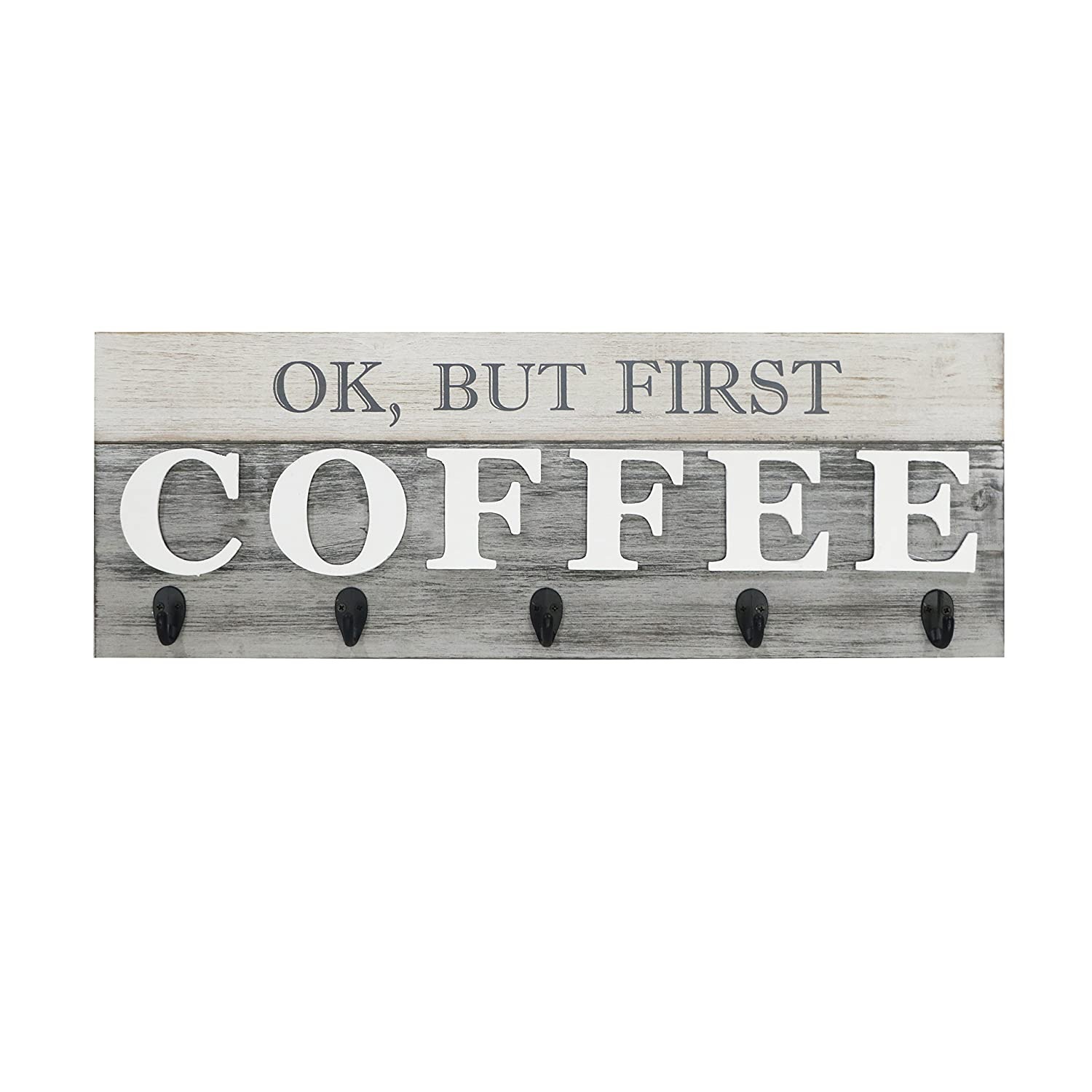 Barnyard Designs Ok But First Coffee Mug Holder Rack Display Rustic Farmhouse Wood Coffee Wall Decor Sign For Kitchen Bar Cafe 24 X 8 5 Amazon In Home Kitchen